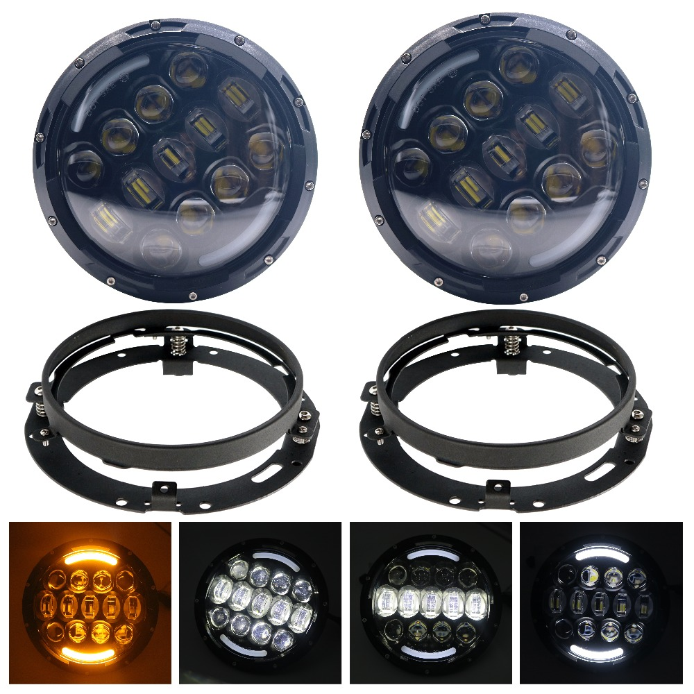 HJYUENG 105W 7 Inch Round LED Headlight White/ amber Turn Signal DRL High Low Beam for JEEP Wrangler 2007-2015 Jk Tj Fj 2pcs 7 inch round led headlight with white amber lighting color drl 7 high low beam headlamp for jeep wrangler