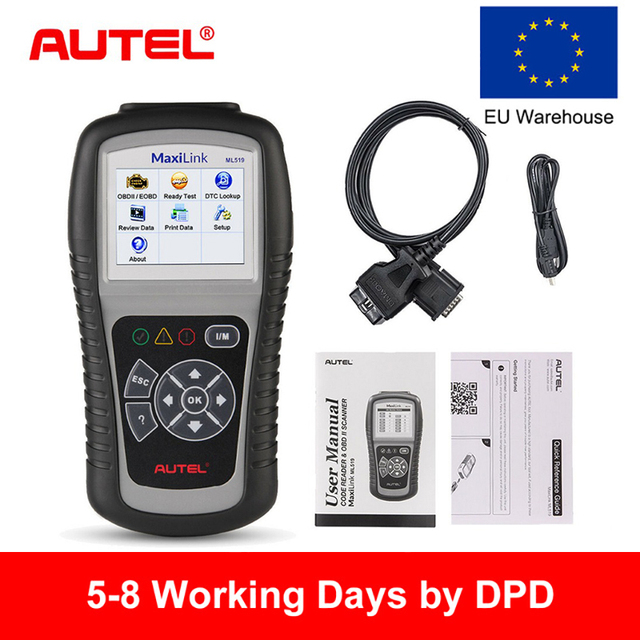 Autel MaxiLink ML519 OBD2 Scanner Auto Car Diagnostic Tool stethoscope Automotive ELM327 Scanner Engine OBD 2 Code Reader EOBD