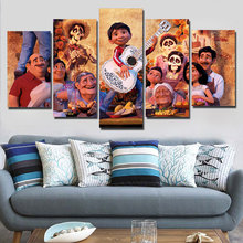 Top-Rated HD Printed Modern Canvas 5 Panel Movie Coco Families Painting Wall Art Modular Type Poster Framework Living Decor Room