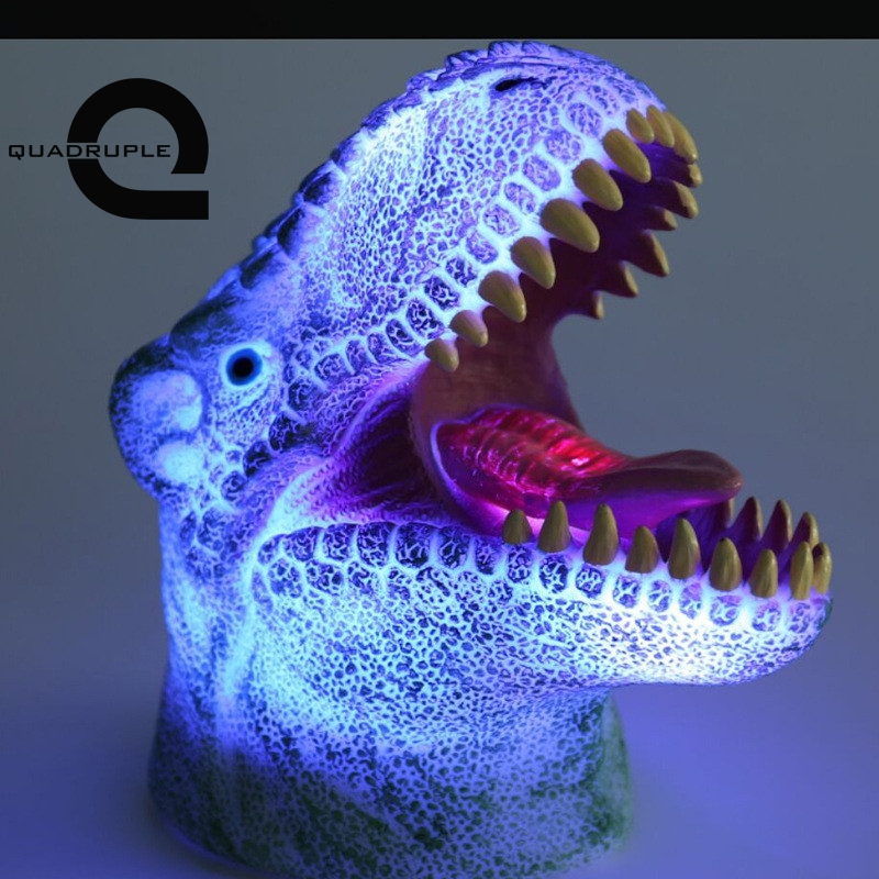 Quadruple 3D Dinosaur Night Lights Colorful Changing Simulation Dinosaur Lamp Halloween Funny Tricky Atmosphere Table Lamp цена и фото