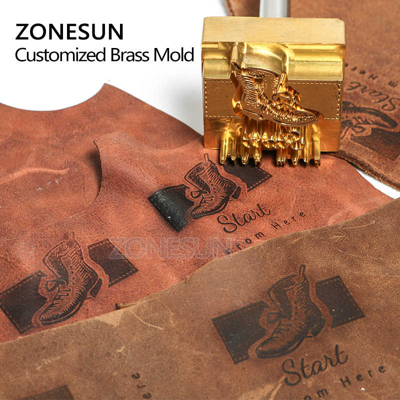 zonesun customized logo stamp brass mold leather wood pu copper stamping mold plate for machine hot foil stamp wood burning stamps aliexpress aliexpress