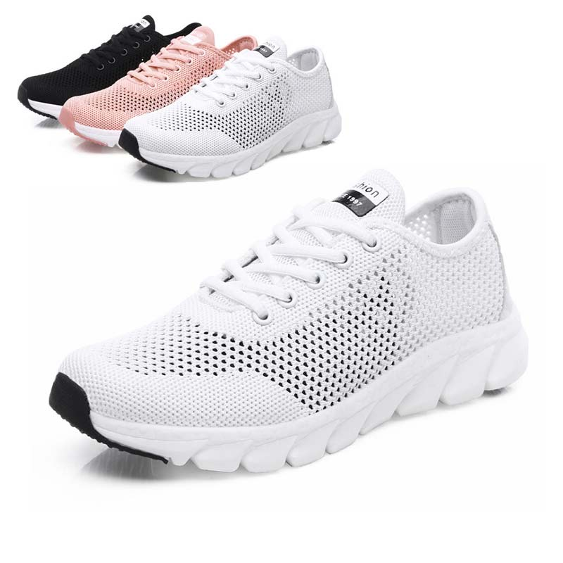 Women's Shoes Sneakers Comfortable White New Mesh Summer Hollow-Out Weaving Air-Permeable