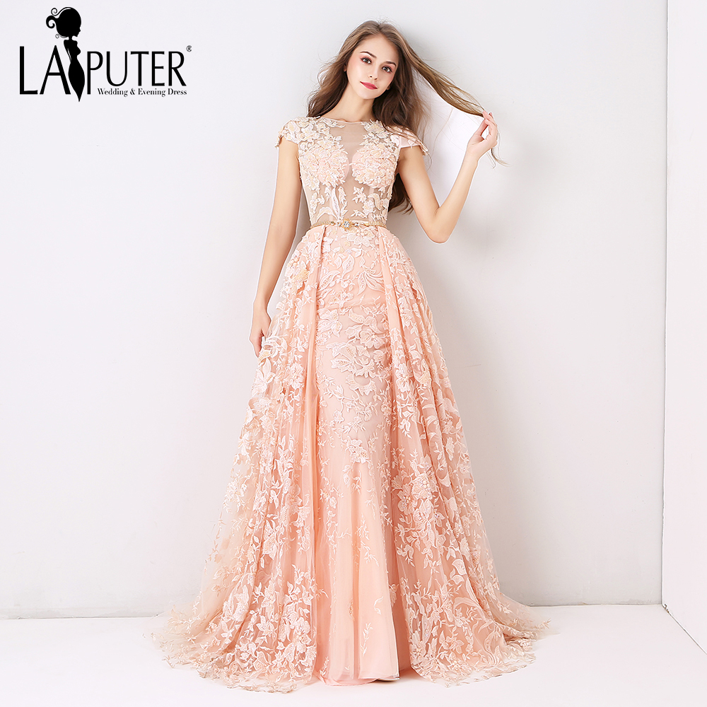 290be5efcc9 Laiputer 2018 Pearl Pink Luxury Lace Appliques Full Beading Crystal Amazing  Arabic Vintage Sexy Formal Long