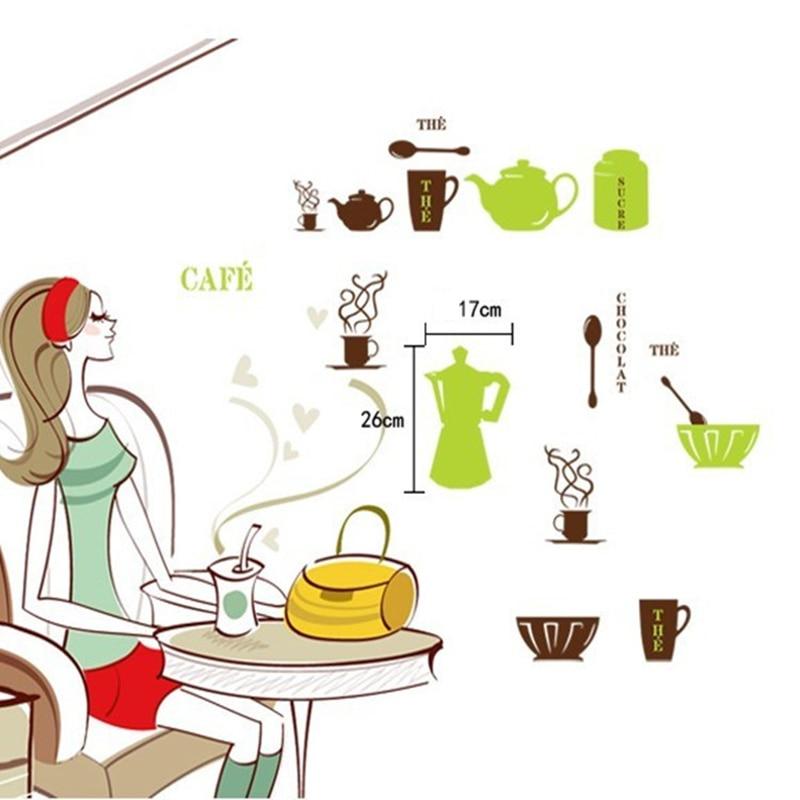 vendita calda verde marrone bollitore cucchiaio arco adesivi murali per la cucina rimovibile caldo home decor