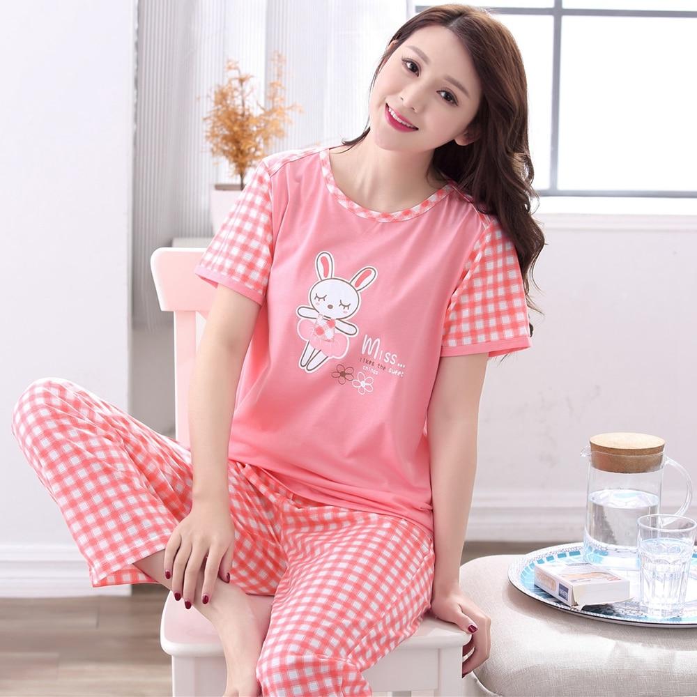 2018 Autumn Cute Girls Cotton   Pajamas     Sets   Plus Size Cartoon Tops + Long Pants Sleepwear Loungewear Homewear Clothing for Women