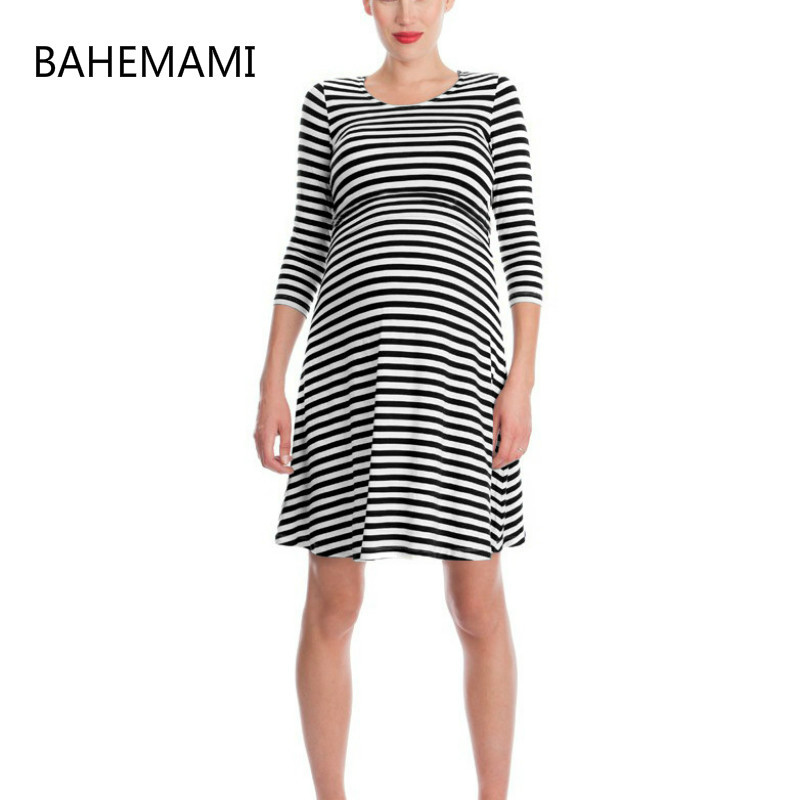 BAHEMAMI Pregnant Women Summer Set Dress Striped Dresses Breastfeeding And Nursing Women Dresses Women's Tops Vestidos 2018 spring summer new fashion women dress round neck striped stretch knitted dresses slim with packet haute couture