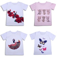 Fashion Print Girls T-Shirts Baby Girls\' Tops 100% Cotton Soft White 2 3 4 5 6 7 8 Years Children Tees Shirts