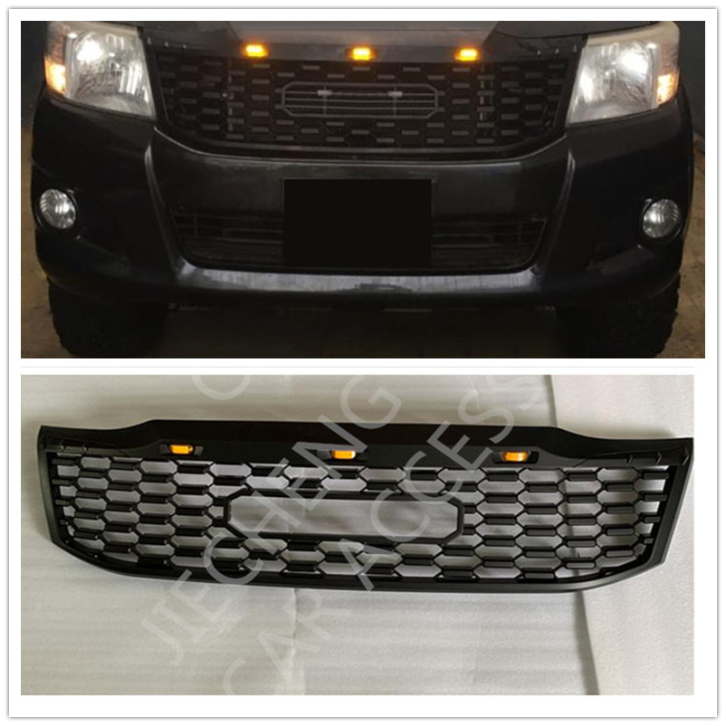 AUTO EXTERIOR PART MODIFIED FRONT ABS MESH MASK TRIMS COVER RACING GRILLE GRILLS FIT FOR HILUX VIGO 2012-2014 GRILL PICKUP CAR