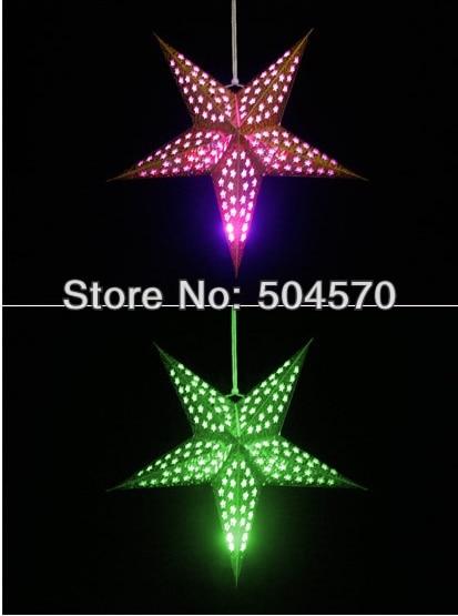 4pcs / Lot 30-60cm LED Star Handle Lanterns Lamp Laser Paper Glow - Varer til ferie og fester - Foto 2