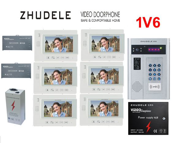 ZHUDELE Building Home security intercom system 6 Units Apartment Video Door Phone Bell Intercom System 7 TFT monitor IN STOCK