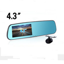 Promociones nuevo 4.3 pulgadas de la cámara del coche Parking grabador de vídeo coche espejo retrovisor con cámara Full HD 1080 P coche DVR de doble cámara