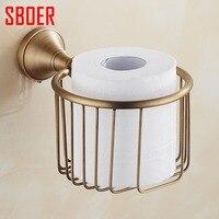 Antique Brass Finish Toilet Roll Paper Holder Shelf Wall Mount Paper Storage Basket For Bathroom Washroom