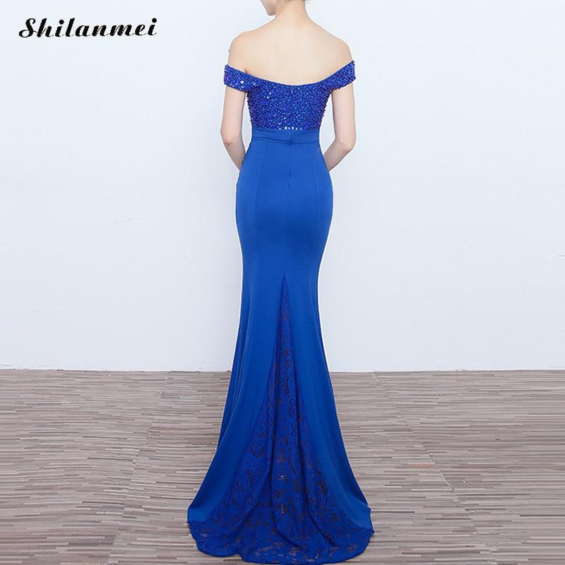 Soirée Royal royal Blue Partie Moulante Bleu The red De Mince Black Off Maxi Longue Sequin Bal Robe Femmes Sexy Noir Shoulder Nouveau Rouge xq6X6R