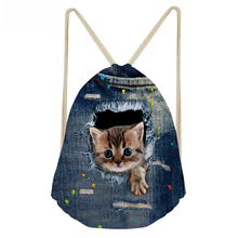 ThiKin 3D Cute Cat Backpack Drawstring Bag Kids Beach Backpack Mochila Cuerda Infantil Shoe Bag Lady Gorijuss Petite Fille