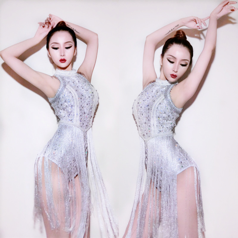 New Jazz Dance Dress Hip Hop Costumes Sexy Pole Dance Clothing Sequined Fringe Bodysuit Ds Bar Singer Nightclub Led Suits DN1275