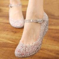 2017 New Summer Sandalias Wedges Women Jelly Sandals Hollow Out Crystal Crocs Plastic Flower Sandals Girls