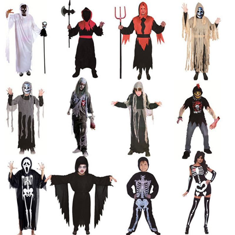 Halloween Costume Ball Costume Adult Children's Ghost Festival Horror Gothic Costs Ghost Festival Cosplay Role Playing Haunted C