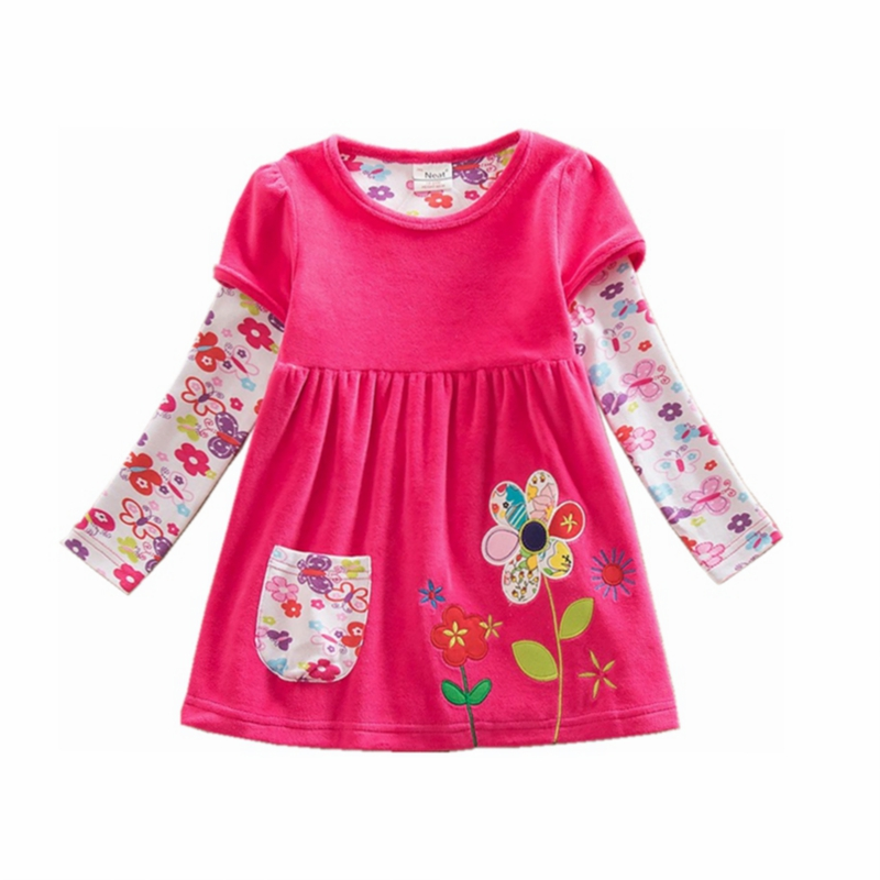 retail baby girl clothes long sleeve girls dress flowers