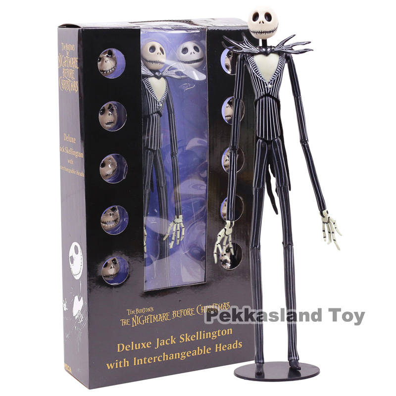 цена на The Nightmare Before Christmas Deluxe Jack Skellington with Interchangeable Heads Action Figure Collectible Model Toy Gift 35cm