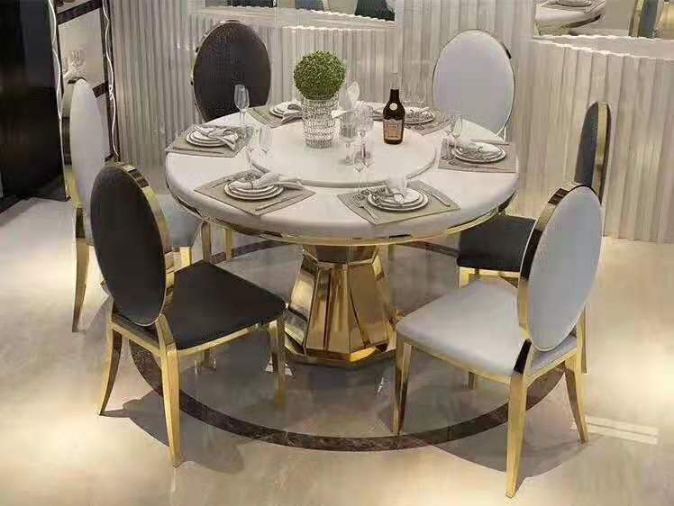 Modern Style table metal Luxury round dining table set wxgdjj01