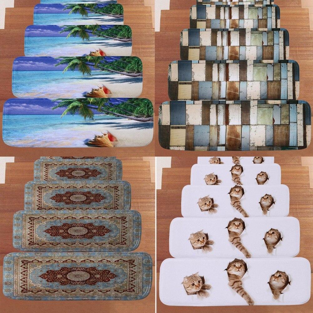 Nosii 5pcs/set Home Stairs Mat Non-slip Floor Carpet Staircase Rug Cat Beach Pattern Treads Protector Doormat Decor