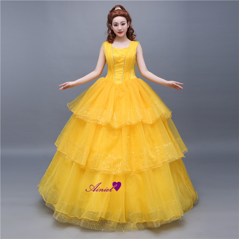 Ainiel   Movie Beauty and the Beast Cosplay  Costume Princess Belle Long Yellow Layered Lace Dress For Women and Girls