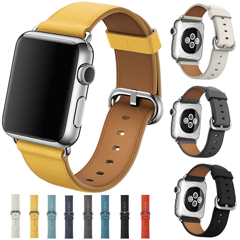 все цены на For Apple Watch iWatch Band 38mm 42mm Leather Strap Replacement Wristbelt for Apple Watch 1 2 3 Watchbands Sport and Edition онлайн
