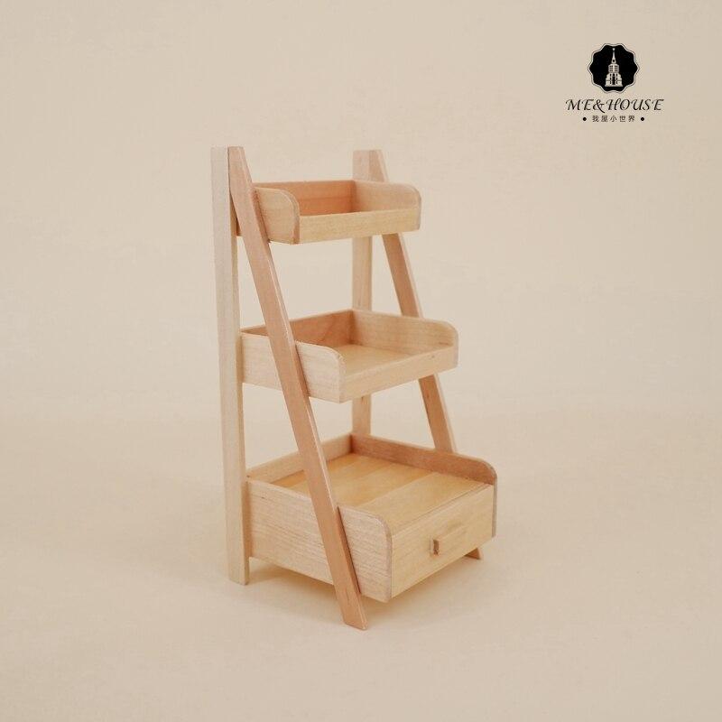 1:12 Scale New Dollhouse Wood Shelf Flower Stand Mini Doll House Handmade Furniture Model