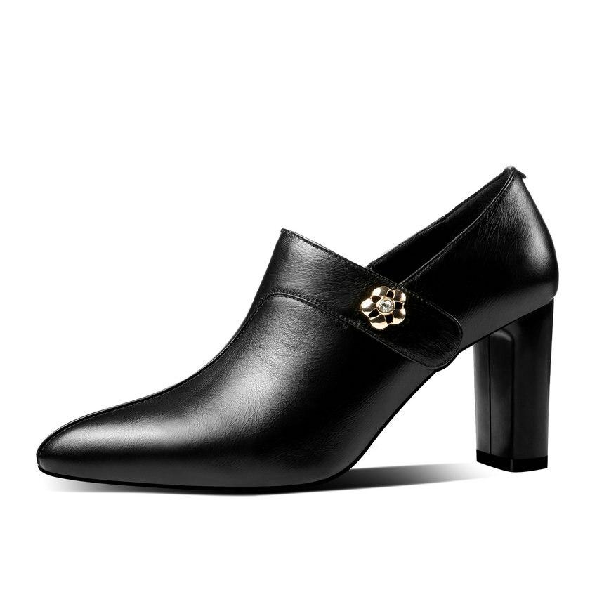 Bureau 2019 Femmes Vache Noir 39 Zip Haute Pu blanc Pompes En Carrés Chaussures jaune Bout Cuir Mode Esveva 34 Talons Pointu dv5qd