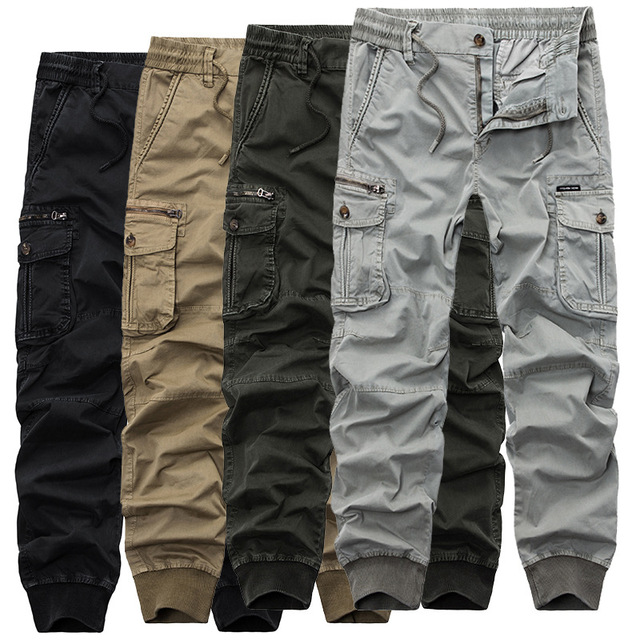 Automne hommes noir Cargo pantalon décontracté hommes Joggers pantalon coton pantalon homme Combat militaire tactique pantalon avec Multi poches