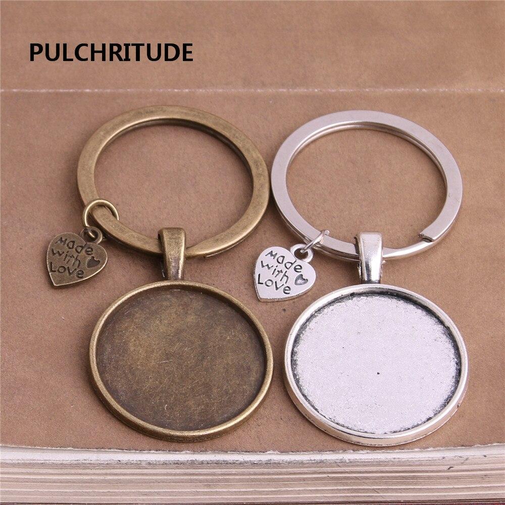 PULCHRITUDE 5 pcs/lot Metal Antique Silver Bronze Heart Charm Fit round 25mm Cabochon Set Key Chain Jewelry Making Diy C0338 цены
