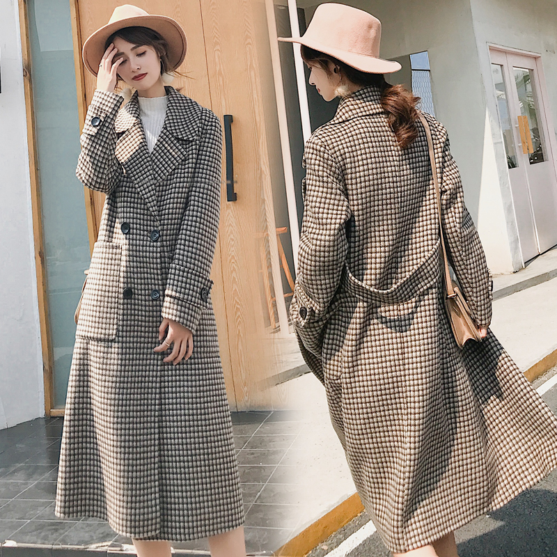 Face Ceintures Tweed Hiver Mince Automne Breasted Manteau Femmes Confortable Femelle As Laine De Show Double Zx1065 Deux Mode Plaid wExS0xqZ