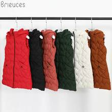 Brieuces Women Winter 2018 New Elegant Slim Vest Big yards High quality Keep warm Cotton Coat Pure color Long Hooded vest