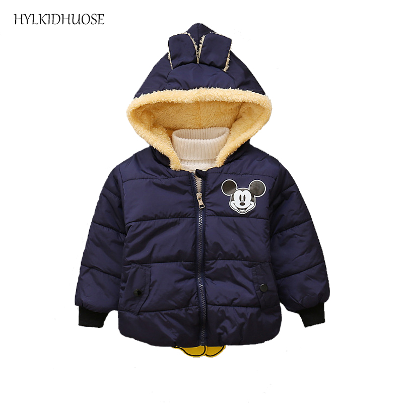HYLKIDHUOSE 2017 Baby Boys Winter Coats Cartoon Children Plush Jackets Outdoor Hooded Kids Warm Outerwear Casual Tops Parkas children winter coats jacket baby boys warm outerwear thickening outdoors kids snow proof coat parkas cotton padded clothes
