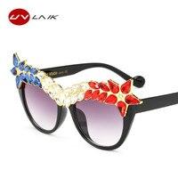 UVLAIK Women Cat Eye Sunglasses Ladies Luxury Diamond Sun Glasses Female Black Vintage Eyewear High Quality