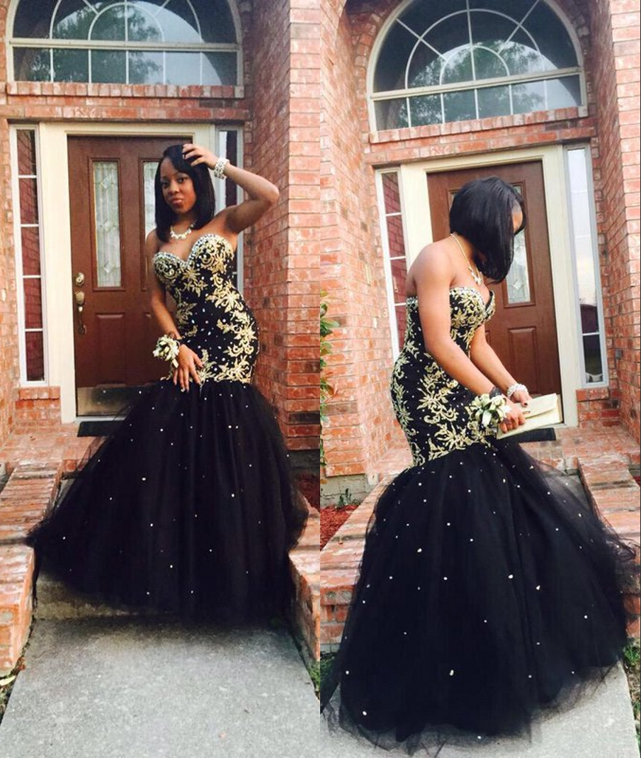 2017 Sexy Mermaid Black Girl Prom Dresses Gold Appliques
