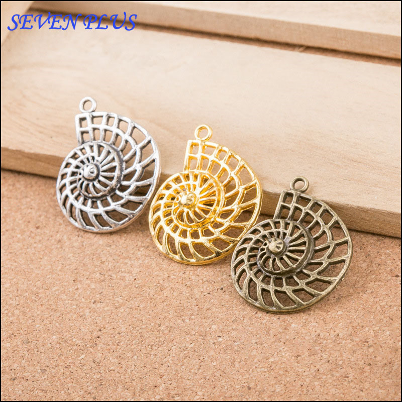 High Quality 10 Pieces/Lot 36mm*28mm Alloy Material Hollow Out Seashell Charm Sea Nail Charms For Jewelry Making