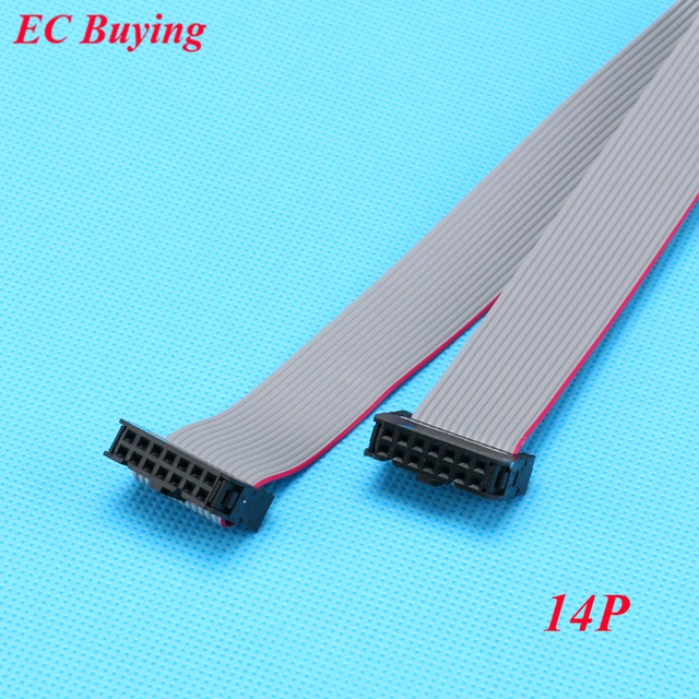 5pcs 2.54mm Pitch JTAG AVR Download Cable Wire Connector Gray Flat Ribbon Data Cable 28AWG 300V FC-14P 14 Pins 30cm