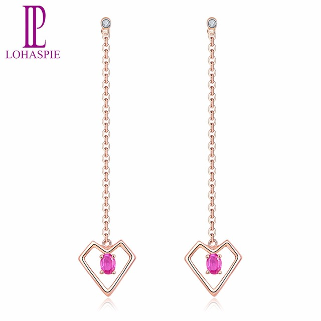 Lohaspie Solid 18K Rose Gold Natural Gemstone Ruby and Diamond Heart Earrings Fine Jewelry For Women's Christmas Gift NEW