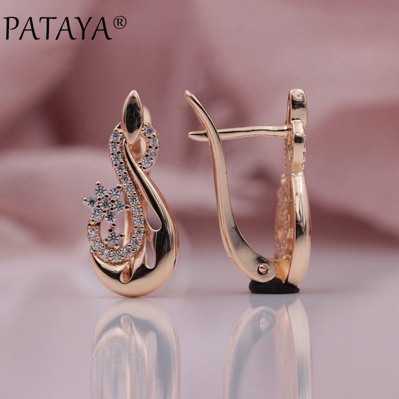 PATAYA New Extreme Luxury Vintage Flower Jewelry Women Wedding Party 585 Rose Gold Micro-wax Inlay Natural Zircon Drop Earrings
