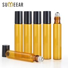 100 pçs/lote 10ml portátil âmbar garrafa de óleo essencial rolo na garrafa perfume mini metal bola rolo marrom garrafas de óleo essencial
