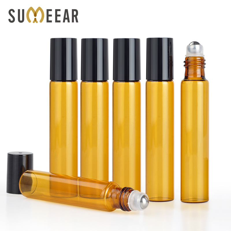100Pieces/lot 10ML Portable Amber Essential Oil Bottle Roll On Perfume Bottle Mini Metal Ball Roller Brown Essential Oil Bottles