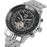 Mens Automatische Mechanische Uhr Edelstahl Skeleton Uhren Kalender Funktion Luminous Hände Erkek Kol Saati Reloj Hombre-in Mechanische Uhren aus Uhren bei