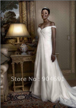 Strapless Off Shoulder White Chiffon Beaded Empire Waist Maternity Wedding Dress / Pregnant Bridal Gown with Long Trail MN79