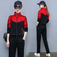 Casual suit female 2020 new Korean version collar sportswear Spring thin Yellow and red Jacket pants set plus size M-4XL bs5792