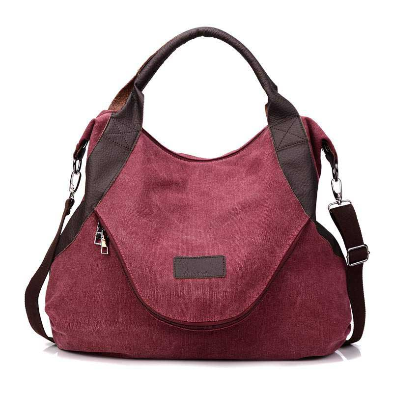 Canvas Crossbody Zipper Style Shoulder Beach Bag Tote Shopping Messenger Bags