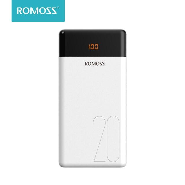 20000 mAh ROMOSS LT20 Мощность Bank Dual USB внешний Батарея с светодиодный Дисплей быстро Портативный Зарядное устройство для телефонов планшет Xiaomi
