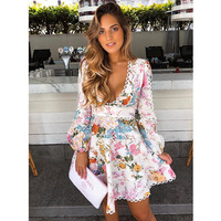 Heather Flounce Short Dress Printed Linen Dress Bohemian Beach Resort Deep V neck Puff Sleeve Flare Dress