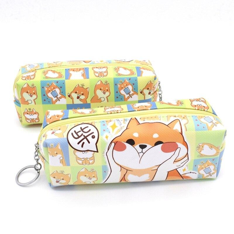 12 Pcs/lot Annoy Shiba Dog PU Large Pencil Case Stationery Storage Organizer Bag School Office Supply Escolar