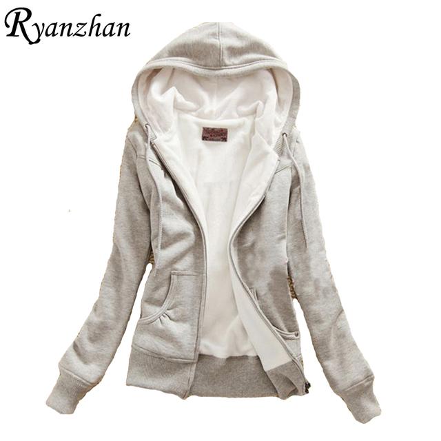 Ryanzhan 2017 nova primavera mulheres das camisolas de algodão de veludo grosso plus size zip-up casaco de cashmere manga longa hoodies mornos jaquetas básicas